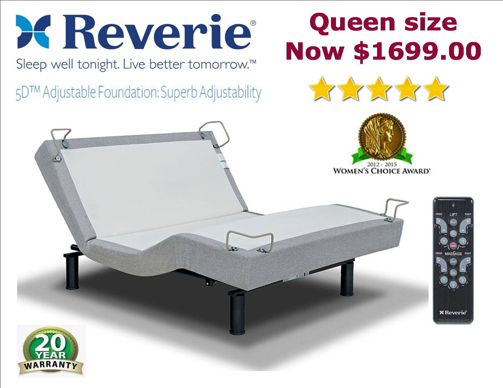 Reverie 5D adjustable bed pop. ""