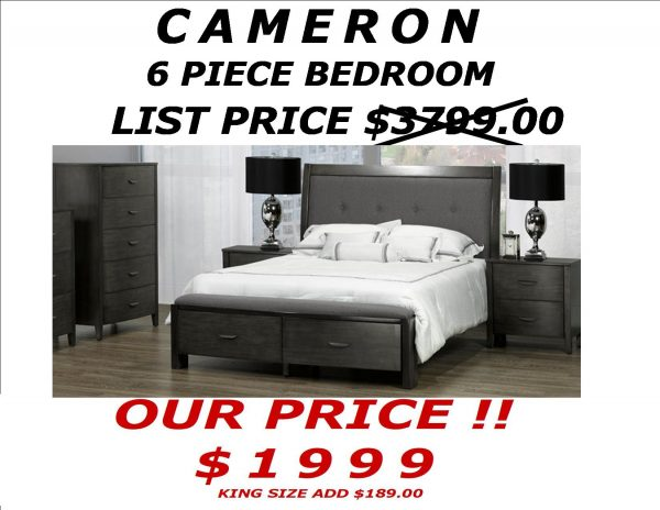 CAMERON 6 piece PACKAGE PRICE CARD 2017